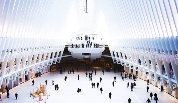 Interior view of the World Trade Center Transportation Hub.