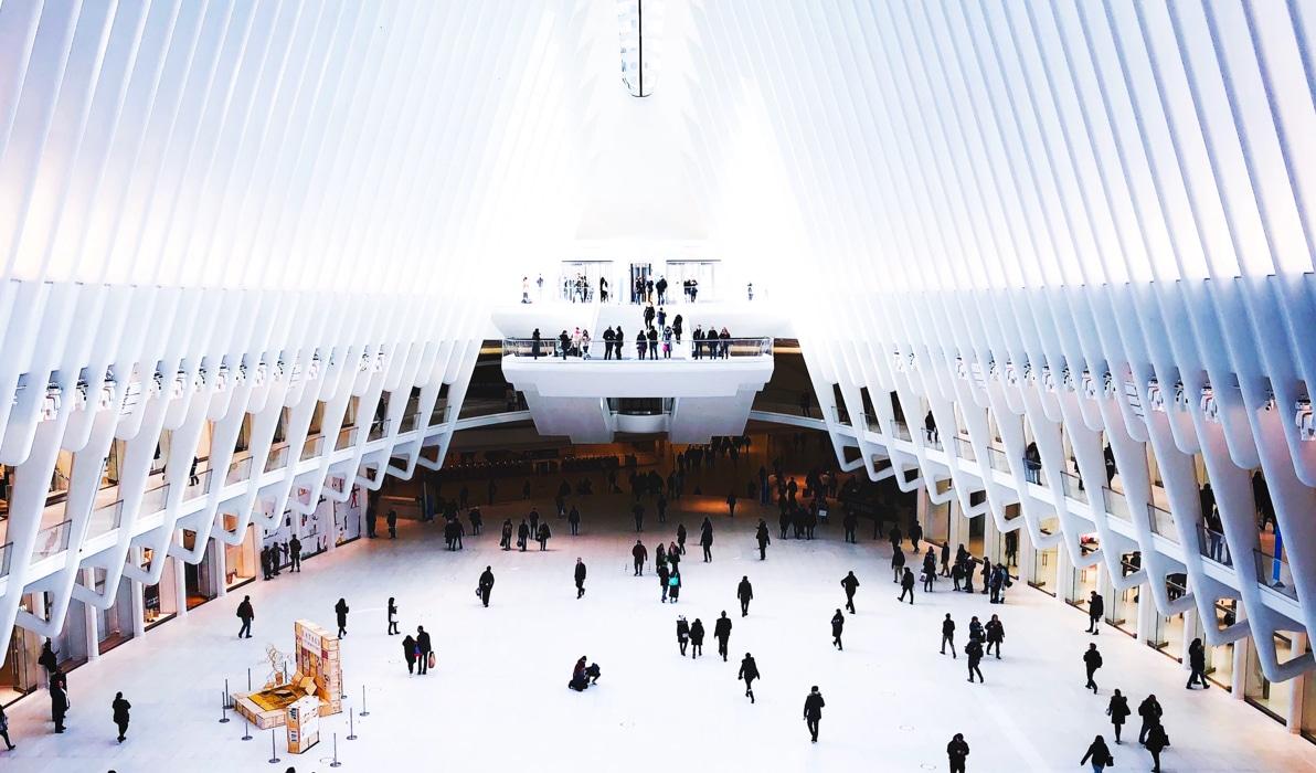 Interior view of the World Trade Center Transportation Hub.