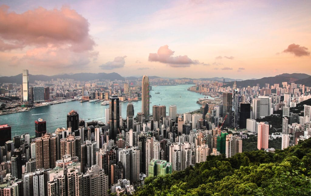 Aerial view of Hong Kong skyline.