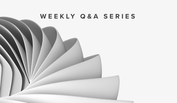 "Fibonacci Art with ""Weekly Q&A Series"" Text above it."