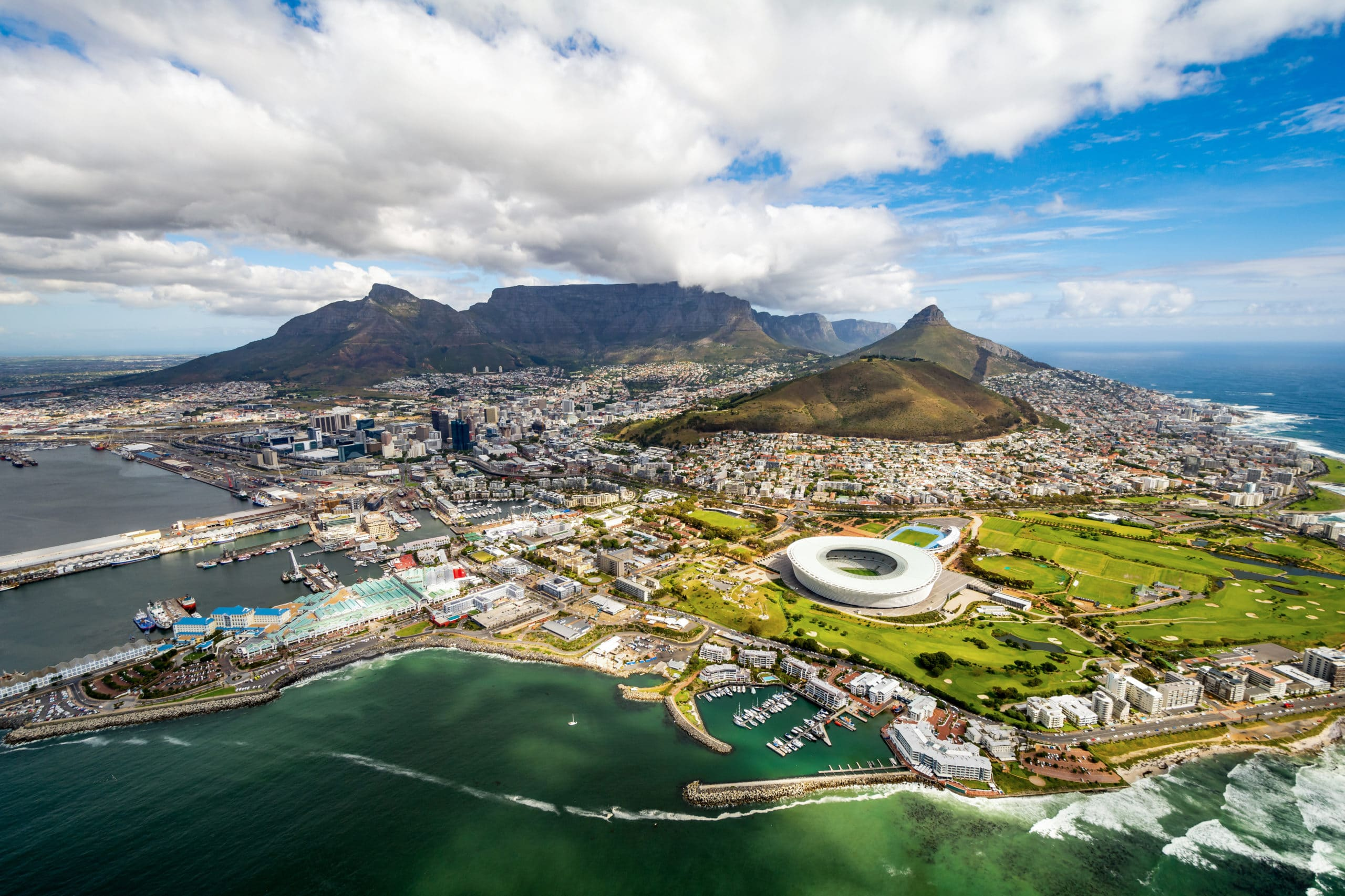Aerial photograph of Cape Town, South Africa.